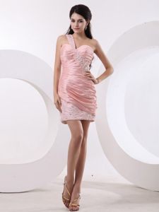 2013 Beaded Decorated One Shoulder and Ruche Bodice Prom Dresses