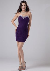 Medicine Hat Beading Mini Sweetheart Prom Dress Dark Purple in Column