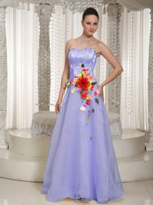 Hand Made Flowers Beading Lilac Junior Prom Dress with Floor-length