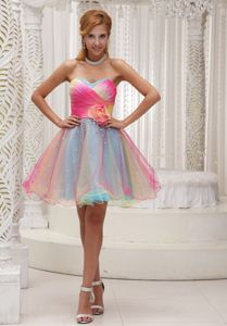 St. Albert Ombre Color Ruched Sweetheart Prom Dress with Handle Flower