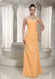 Orange Sweetheart Dress for Prom Queen with Ruched Beading Decorated