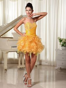New Westminster Beading and Ruffles Mini Yellow Prom Dress with Bust