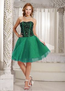 Brand New Green Sweetheart Knee-length Senior Prom Dress with Beading