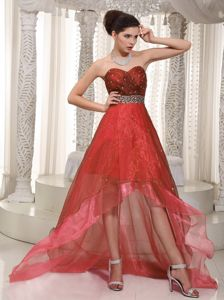 Special Rust Red Beaded Sweetheart High-low Semi-formal Prom Dresses