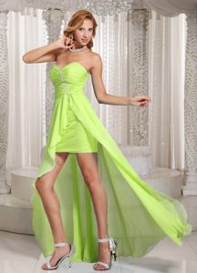 Pretty Yellow Green Sweetheart High-low Prom Gown Dresses with Beading