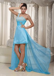 Pretty Aqua Blue Beaded One Shoulder High-low Semi-formal Prom Dress