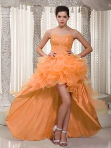 Bright Orange Red Beaded Sweetheart High-low Prom Dresses with Ruffles