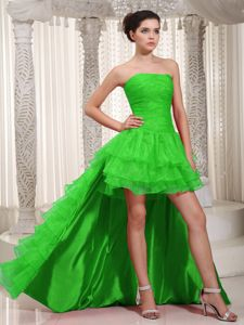 Strapless Spring Green High-low Dress for Prom with Ruffle-layers in Barry