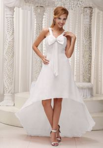 Lovely White High-low Ruched Informal Prom Dress with Bow and Straps