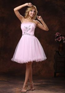 Lovely Baby Pink Strapless Mini-length Dress for Formal Prom with Beading