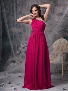 Elegant Fuchsia One Shoulder Ruched Brush Train Dress for Formal Prom