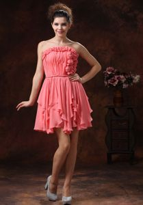 Strapless Watermelon Ruched Mini-length Prom Attire with Flowers in Boise