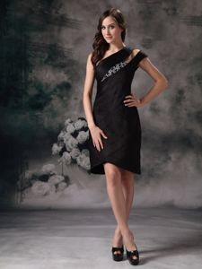 Asymmetrical Neck Beading Knee-length Little Black Satin Prom Dresses