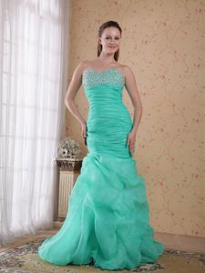 Sweetheart Bead Ruched Turquoise Brush Train Dress for Prom Princess