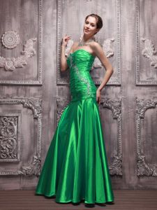 Beading and Ruched Sweetheart Green Mount Gambier SA Prom Dresses