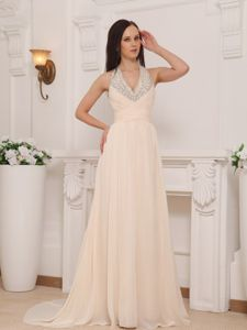 Halter Beading Brush Train Champagne Prom Dresses in Armidale NSW