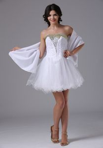 Organza Beading Sweetheart White Short Prom Dresses Matching Shawl