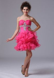 Ruffled Sweetheart Beading Hot Pink Organza Short Formal Prom Dresses