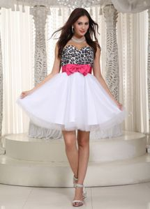 Bowknot Sweetheart Leopard Layers Tulle Zipper-up Back Dress for Prom