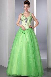 Geelong VIC Halter Beading Spring Green Backless Prom Gown Dresses