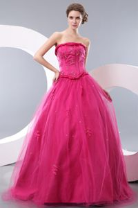 Puffy Strapless Beading Appliques Tulle Hot Pink Lace Up Prom Dresses