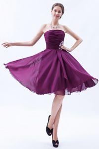 Appliques Strapless Ruched Dark Purple Prom Dresses for Adelaide, SA
