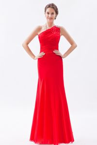 Floor-length One Shoulder Beading Ruched Homecoming Prom Dresses