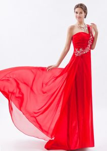 One Shoulder Beading Ruche Brush Train Red Melbourne VIC Prom Dress
