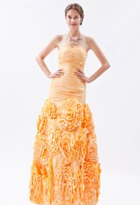Rolling Flower Sweetheart Ruched Orange Mermaid Cocktail Prom Dress
