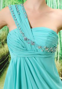 Zipper-up Light Blue Formal Prom Dress with Beaded One Shoulder in Granville OH