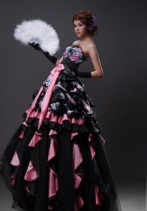 Cheap A-line Printing Ruffled Colorful Formal Prom Dress in Centerville USA