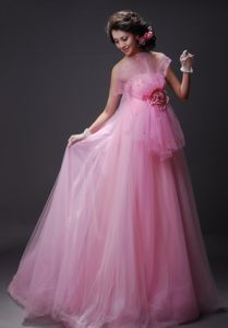 Tulle Baby Pink Formal Senior Prom Dress with Fan-Shaped Decoration