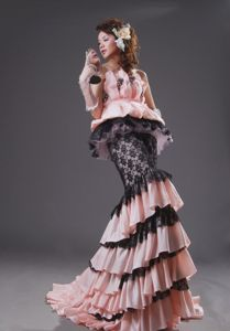 Englewood USA Unique Mermaid Strapless Ruffled Prom Gowns in Light Pink and Black