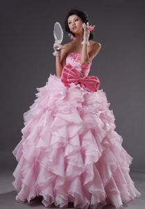 Sophisticated A-line Baby Pink Formal Prom Dress with Bow and Ruffles