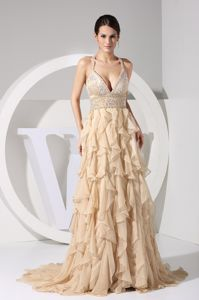Crisscross Back Beaded Ruffled Champagne Prom Gowns Fast Shipping