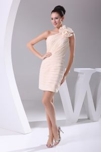 One Shoulder Mini-length Ruched Champagne Prom Dress with Flower