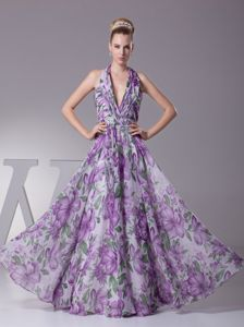 Zipper-up Halter Printing Long Prom Dress in Multi-color for a Cheap Price