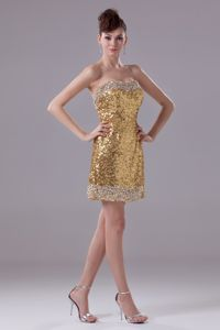 Mini-length Sequin Gold Prom Dresses for Cocktail Party for Wholesale