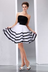 Strapless Organza Puffy White and Black Junior Prom Dresses for Summer