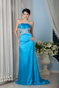 Strapless Appliqued Teal Brush Train Prom Dress with Cutout in Hilliard OH