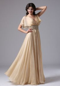 V-neck Champagne Maxi Prom Dresses for Summer with Beaded Waist