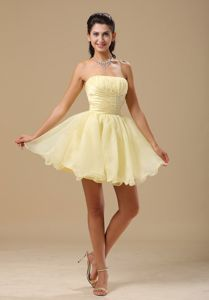 Puffy Lace-up Light Yellow Mini Informal Organza Prom Dress in Chardon OH