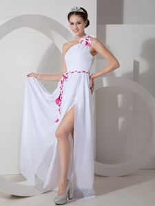 One Shoulder Slitted White Long Prom Dress with Belt and Cut Out Back