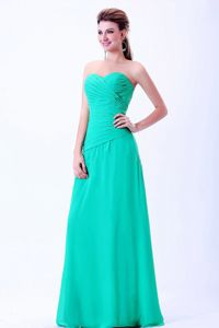 Sweetheart Zipper-up Ruched Turquoise Formal Prom Gowns under 150