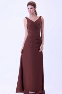 2013 Brand New V-neck Brown Long Prom Attire for Mother Of The Bride
