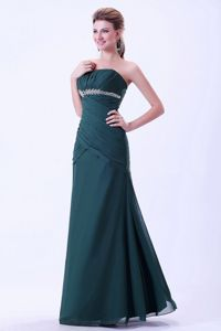 Most Popular Strapless Ruched Beaded Long Green Dress for Prom in Cleveland OH