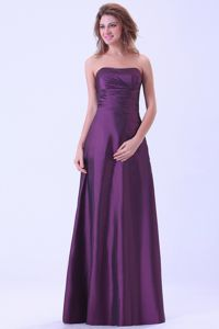 Custom Made Strapless Purple Long Formal Prom Outfits in Columbus USA