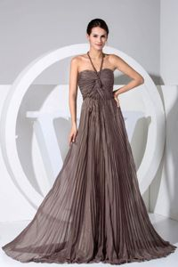Geneva USA Brush Train Halter Pleated Brown Formal Prom Dress On Sale