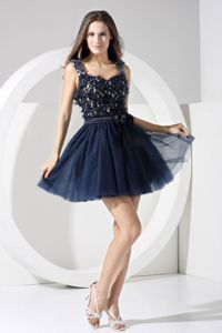 Straps Appliqued Short Navy Blue Prom Dress with Cut Out Back in Copley USA