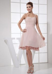 On Sale Spaghetti Straps Beaded Short Baby Pink Prom Attire Fast Shipping